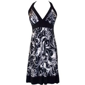 Black White Mod Floral Halter Sundress JR Plus Size