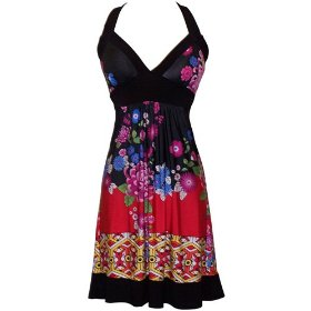 Asian Floral Halter Sundress Knee-Length