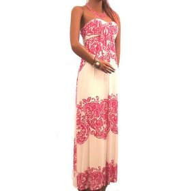 New Sexy Long Maxi Dress Stretch Viscose Pink Pattern