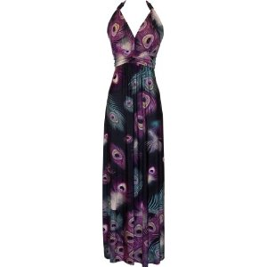 Print Stretch Jersey Maxi Dress with Beaded Accents Junior Plus Size