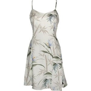 Princess Seam Tailored Fit Sun Dress - Bamboo Paradise Form Fitting A-Line Hawaiian Aloha Style 170 Sun Dress - Mini Style