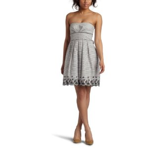 Teeze Me Junior's Embroidered Striped Tube Dress