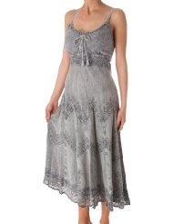 Stonewashed Rayon Embroidered Adjustable Spaghetti Straps Long Dress Sundress for Women