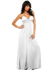 Maxi Vintage Summer Halter Beach Party Long White Sundress