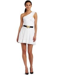BCBGMAXAZRIA Womens Mikey One-shoulder Eyelet white summer dress