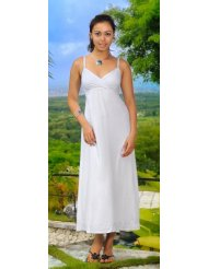 Long Summer Embroidered Lined White Sundress