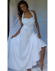 WHITE SUNDRESS MAXI HALTER