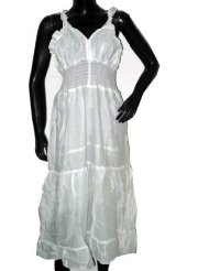 Cotton Sundresses-Newage Indian Cotton White Sundress Boho Strap Dress S-xl